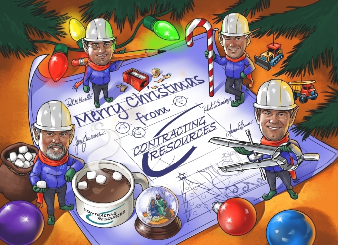 Construction, caricature, blueprint, Christmas card
