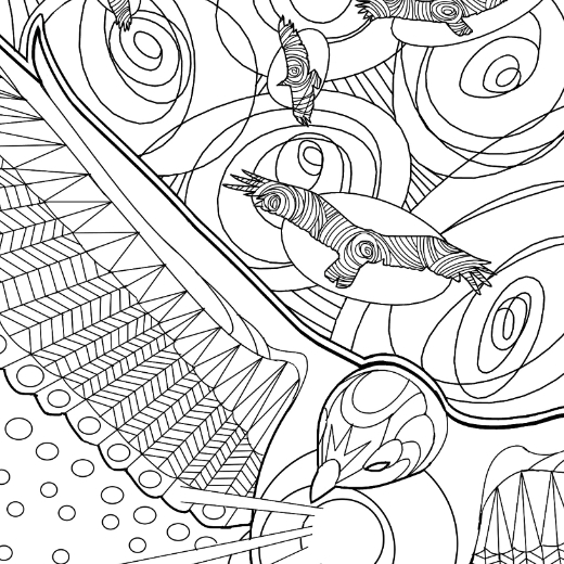 Line art, birds