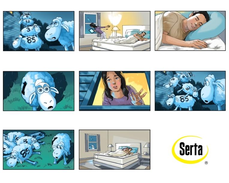 Serta, storyboard, sheep